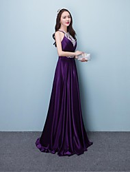 cheap -A-Line Halter Floor Length Silk Prom Formal Evening Dress with Beading Sequins by Yaying