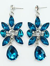 baratos -Mulheres Cristal Brincos Compridos - Cristal, Prata Chapeada Caído, Flor Personalizada, Vintage, Europeu Azul Para Festa / Diário / Casual