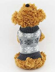 Gatto Cane Maglioni Abbigliamento per cani Cotone Inverno Classico Tenere al caldo Fiocco di neve Grigio Caffè Per animali domestici