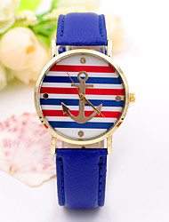 cheap -Women/Lady's Leather Band Red/White/Blue Stripe Anchor Case Analog Quartz Fashion Dress Casual Watch Strap Watch