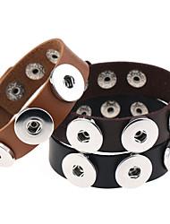 Fashion Simple Punk Charm PU Bracelet Women Buttons Leather Bracelets&Bangles Men Unisex Jewelry