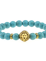 cheap -Fashion Nature Turquoise Beads Bracelet Men Gold Lionhead Pendant Elastic Bracelets Women Jewelry
