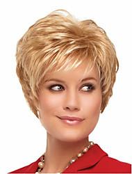 Donna Parrucche sintetiche Senza tappo Lisci Kinky liscia Biondo dorato Con frangia Parrucca naturale Parrucca di Halloween Parrucca di
