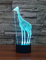 Giraffe Touch Dimming 3D LED Night Light 7Colorful Decoration Atmosphere Lamp Novelty Lighting Light