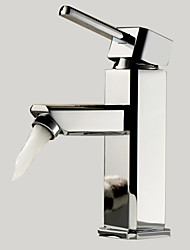 Moderno Installazione centrale Ruotabile with  Valvola in ceramica Uno Una manopola Un foro for  Cromo , Lavandino rubinetto del bagno