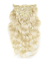 billiga -Klämma in Människohår förlängningar Kroppsvågor Äkta hår Kolsvart Svart Blekt Blont