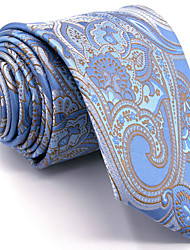 Men's Light Blue Paisley Tie 100% Silk Business Dress Casual Long