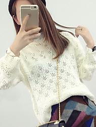 economico -Standard Pullover Da donna-Per uscire Casual Semplice Romantico Tinta unita Rosa Bianco Nero Girocollo Manica lunga CotonePrimavera