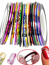 cheap -Beauty 30 Color Rolls Striping Tape Line Foil Transfer Decal On Nails DIY Tips Decoratios For 3D Nail Art Stickers