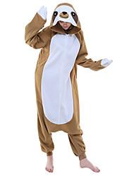Kigurumi Pajamas Anime Cartoon Leotard/Onesie Festival/Holiday Animal Sleepwear Halloween Brown Animal Print Patchwork Polar Fleece