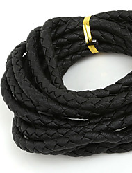 cheap -Beadia 6mm Round Black Braided PU Leather Cord Rope String (3Mts)