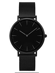 Per uomo Da coppia Orologio alla moda Orologio da polso Quarzo / Acciaio inossidabile Banda Casual minimalista Nero