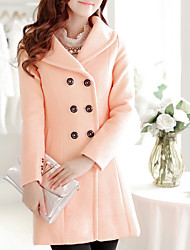Women's Going out /  Cute Coat,Solid Notch Lapel Long Sleeve Winter Blue / Pink / Red / Green Wool / Polyester Thick