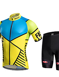 cheap -Fastcute Men's Women's Short Sleeves Cycling Jersey with Shorts - Black Geometic Bike Shorts Bib Tights Jersey Pants / Trousers Clothing