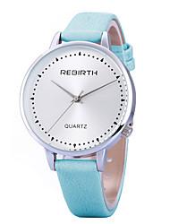 baratos -REBIRTH Mulheres Relógio de Pulso Venda imperdível / / PU Banda Casual / Fashion / Minimalista Preta / Branco / Azul