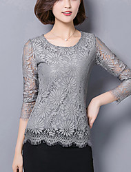 Women's Lace Plus Size / Work Sexy Spring / Fall Slim Blouse,Lace/Cut Out Embroidered White / Black / Gray Nylon Medium