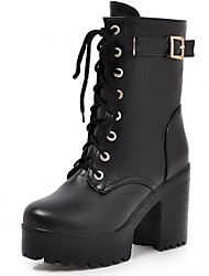 cheap -Women's Synthetic / Patent Leather / Leatherette Spring / Fall / Winter Cowboy / Western Boots / Combat Boots Heels Walking Shoes Chunky Heel / Block Heel Lace-up Black / Yellow / Brown / Wedding