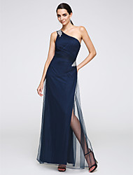 Sheath / Column One Shoulder Floor Length Tulle Formal Evening Dress with Crystal Detailing by TS Couture®