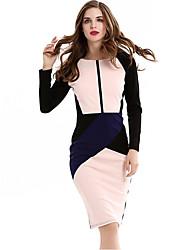baratos -Mulheres Bainha Vestido,Trabalho / Tamanhos Grandes / Casual Moda de Rua Color Block Decote Redondo Altura dos Joelhos Manga Longa Rosa