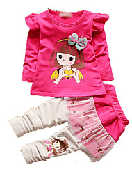 Girls' Casual/Daily Print Sets,Cotton Fall Long Sleeve Clothing Set