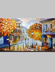 billige -Hang-Painted Oliemaleri Hånd malede - Landskab Moderne Lærred