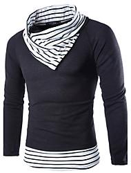Standard Pullover Da uomo-Per eventi Casual Vintage Semplice Moda città A strisce Fantasia geometrica A collo alto Manica lunga Cotone