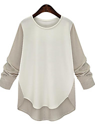 cheap -Women's Plus Size Street chic Fall Blouse,Patchwork Round Neck Long Sleeves Polyester Medium