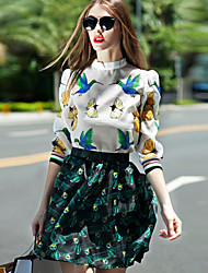 cheap -Women's Going out Street chic Blouse / Set - Animal Skirt Stand / Spring