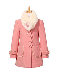 Girls' Casual/Daily Patchwork Jacket & Coat,Polyester Winter Spring Fall Long Sleeve Red Pink