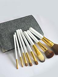 baratos -8pçs Pincéis de maquiagem Profissional Conjuntos de pincel Escova de Cabelo de Cabra Cobertura Total Madeira
