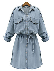 cheap -Women's Daily Plus Size Street chic Shirt Dress,Solid Shirt Collar Above Knee Long Sleeves Spandex Summer Mid Rise Micro-elastic