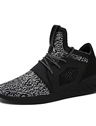 Men's Sneakers Comfort Light Soles Spring Fall Knit Breathable Mesh Casual Outdoor Lace-up Flat Heel Black Blue Screen Color Flat