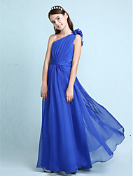 cheap -A-Line Princess One Shoulder Floor Length Chiffon Junior Bridesmaid Dress with Sash / Ribbon Ruffles Side Draping by LAN TING BRIDE®