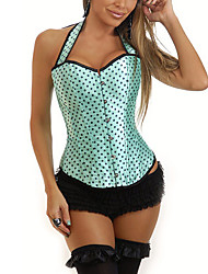 cheap -Women's Lace Up Overbust Corset-Polka Dot,Backless