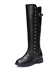 Women's Boots Comfort PU Fall Winter Casual Low Heel Black Under 1in