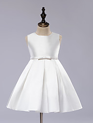 A-Line Knee Length Flower Girl Dress - Satin Sleeveless Jewel Neck with Draping by Angels