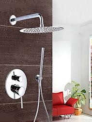cheap -Chrome Wall Mount Concealed Shower Set Concealed Shower Faucets 10 Inch Rainfall Round Shower Head Bath Tap Mixer