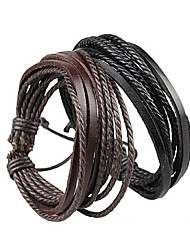 cheap -Bracelet Wrap Bracelet Leather Bracelet Adjustable Rope Brown and Black Unisex Cuff Bracelet Bangles Multilayer Wrist Band 20+5cm