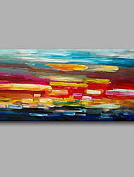 "Stretched (Ready to hang) Hand-Painted Oil Painting 40""x20"" Canvas Wall Art Modern Abstract Red Blue Pink"