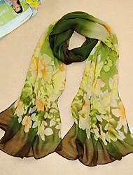 cheap -Women's Chiffon Flowers Print Scarf,Green/Purple/Gray/Pink/Blue/Black
