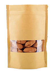 Kraft Paper Bags,Window,Stand-Up Bags,Food Packaging,9Cm*15Cm+3Cm,A Pack Of Ten