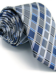 Men's Necktie Tie Gray Checked 100% Silk Extra Long For Men Jacquard Woven Business Dress Casual