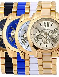 Men's Gold Alloy Band White Case Analog Quartz Fashion Dress Casual Watch