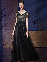 A-Line V-neck Floor Length Tulle Sequined Formal Evening Dress with Embroidery Sequins by Vanedress