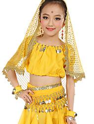 cheap -Belly Dance Outfits Children's Performance Chiffon Gold Coins Sequin 7 Pieces Fuchsia / Light Blue / Purple / Royal
