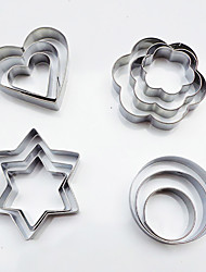 cheap -12pc stainless steel cookie cutter round stars heart flower shaped biscuits mold for DIY cake kitchen tools