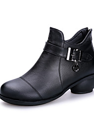 cheap -Women's Modern Shoes / Dance Boots Leather Boots Buckle Low Heel Non Customizable Dance Shoes Black / Brown / Red