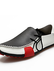 Men's Flats Spring / Fall Comfort Leather Casual Flat Heel Slip-on Black / Brown / Gray Walking