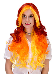 economico -Donna Parrucche sintetiche Senza tappo Molto lungo Arancione Parrucche senza cappuccio Parrucca di Halloween Parrucca di carnevale