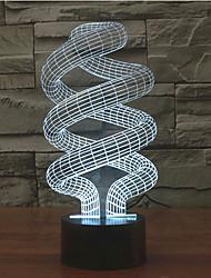 Недорогие -спиральный сенсорный димминг 3d светодиодный свет ночи 7colorful украшение атмосфера лампа новинка освещение свет
